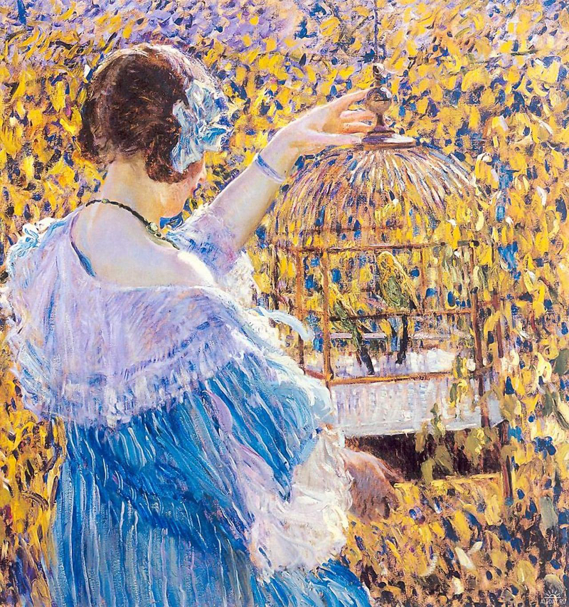 Frederick Carl Frieseke - The Birdcage.800