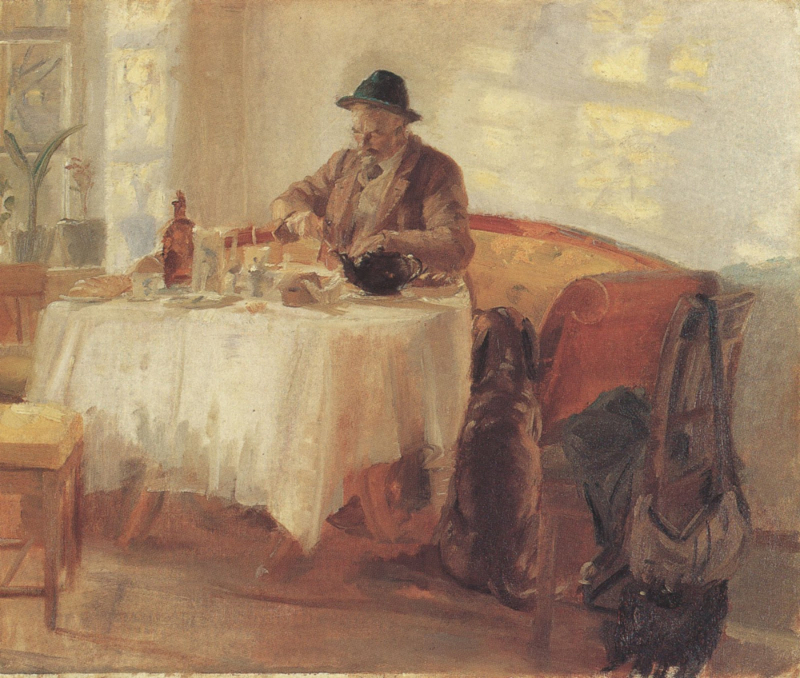 Anna Ancher - 1908 Breakfast before the Hunt (michael Ancher) -800