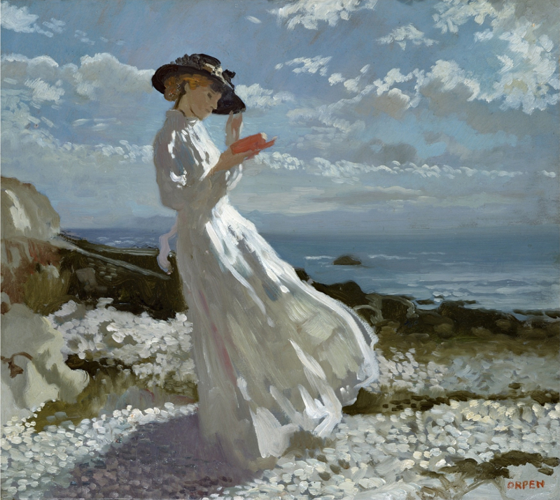 William Orpen - Grace reading at Howth Bay-800